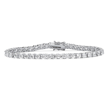 "Round Cubic Zirconia Tennis Bracelet 10.75 TCW in Sterling Silver 7.5"" at PalmBeach Jewelry"
