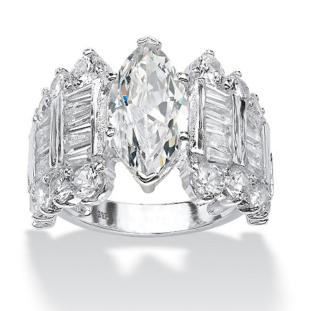 6.55 TCW Marquise-Cut Cubic Zirconia Engagement Anniversary Ring in Sterling Silver at Direct Charge presents PalmBeach