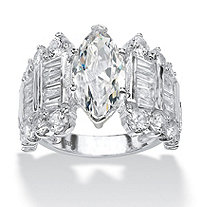 SETA JEWELRY 6.55 TCW Marquise-Cut Cubic Zirconia Engagement Anniversary Ring in Sterling Silver