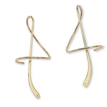 14k Yellow Gold Spiral Drop Earrings at PalmBeach Jewelry