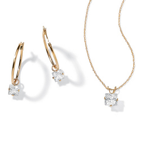 2.60 TCW Princess-Cut Cubic Zirconia 10k Gold 2-Piece Necklace and Drop Earrings Set at PalmBeach Jewelry