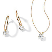 2.60 TCW Princess-Cut Cubic Zirconia 10k Gold 2-Piece Necklace and Drop Earrings Set