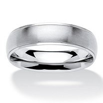 Men's Comfort Fit Brushed Stainless Steel Wedding Band (6mm)