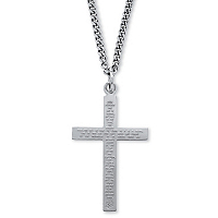 Lord's Prayer Sterling Silver Cross And Stainless Steel Chain ONLY $18.99