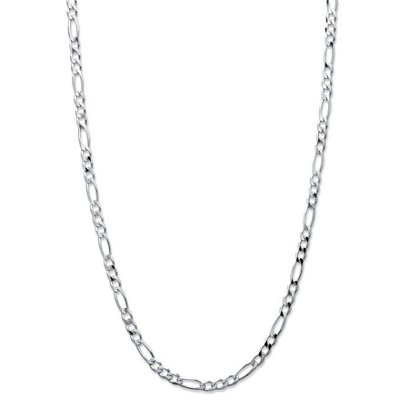"Figaro-Link Chain Necklace in Sterling Silver 20"" (3mm) at PalmBeach Jewelry"