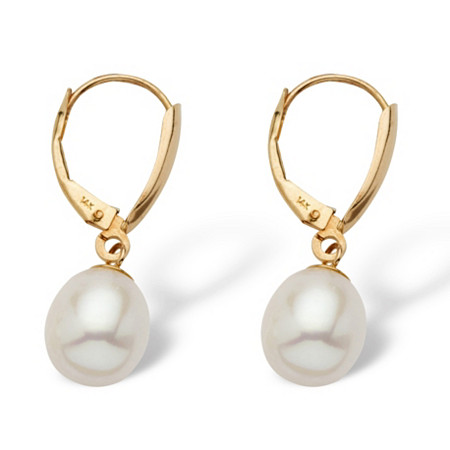 Cultured Freshwater Pearl Teardrop Earrings in 14k Yellow Gold at PalmBeach Jewelry