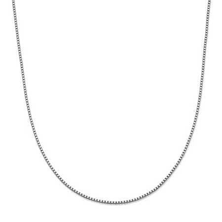"Box-Link Chain Necklace in 14k White Gold 20"" (1mm) at PalmBeach Jewelry"