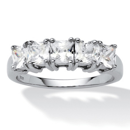 1.85 TCW Princess-Cut Cubic Zirconia Platinum over Sterling Silver Wedding Band Ring at PalmBeach Jewelry