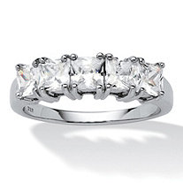 SETA JEWELRY 1.85 TCW Princess-Cut Cubic Zirconia Platinum over Sterling Silver Wedding Band Ring