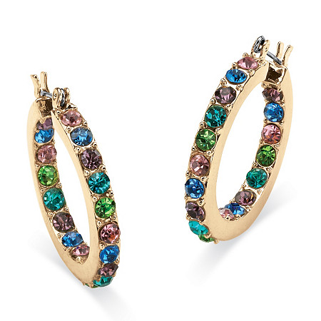 Round Multicolor Crystal Inside-Out Hoop Earrings in Yellow Gold Tone at PalmBeach Jewelry