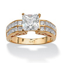 2.42 TCW Princess-Cut and Round Cubic Zirconia Engagement Ring in Solid 10k Yellow Gold
