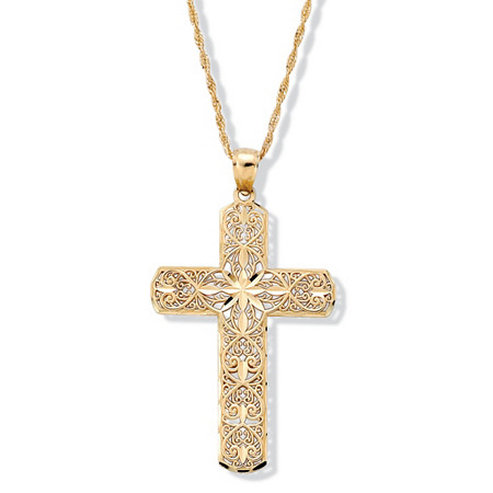 Diamond-Cut 10k Gold Cross Pendant at PalmBeach Jewelry