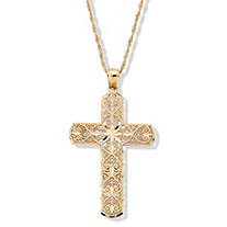 Diamond-Cut 10k Gold Cross Pendant