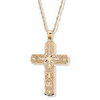 Diamond-Cut 10k Gold Cross Pendant