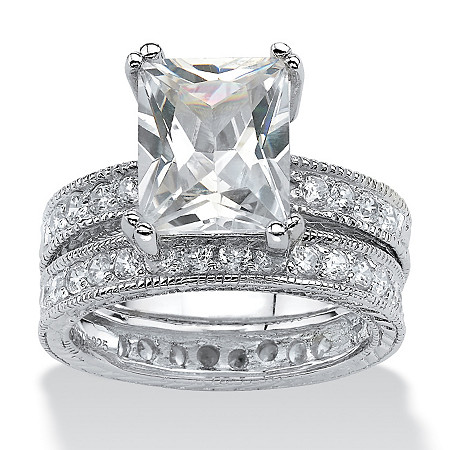 2 Piece 5.98 TCW Emerald-Cut Cubic Zirconia Bridal Ring Set in Sterling Silver at PalmBeach Jewelry