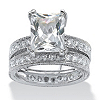 Related Item 2 Piece 5.98 TCW Emerald-Cut Cubic Zirconia Bridal Ring Set in Sterling Silver