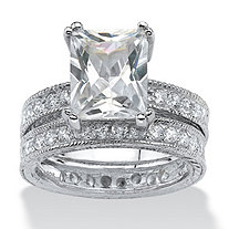 SETA JEWELRY 2 Piece 5.98 TCW Emerald-Cut Cubic Zirconia Bridal Ring Set in Sterling Silver