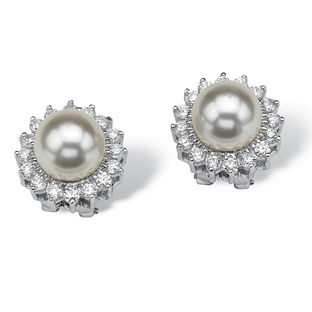1.06 TCW Cubic Zirconia and Pearl Sterling Silver Halo Button Earrings at PalmBeach Jewelry