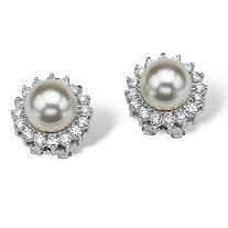 1.06 TCW Cubic Zirconia and Pearl Sterling Silver Halo Button Earrings