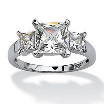 2.36 TCW Princess-Cut Cubic Zirconia 3-Stone Engagement Ring in Platinum over Sterling Silver