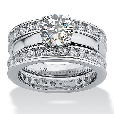3.28 TCW Round Cubic Zirconia Platinum over Sterling Silver 3-Piece Eternity Wedding Ring Set at PalmBeach Jewelry