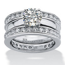 3.28 TCW Round Cubic Zirconia Platinum over Sterling Silver 3-Piece Eternity Wedding Ring Set