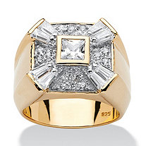 SETA JEWELRY Men's 2.48 TCW Square, Round and Baguette Cubic Zirconia 18k Gold over Sterling Silver Ring