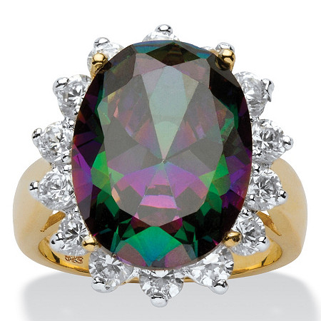 10.72 TCW Oval-Cut Mystic Cubic Zirconia Halo Ring in 18k Gold over Sterling Silver at PalmBeach Jewelry