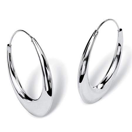 Polished Hoop Earrings in Sterling Silver at PalmBeach Jewelry