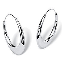 "Polished Puffed Hoop Earrings in Sterling Silver (1 7/8"")"