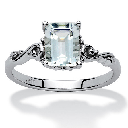1.40 TCW Emerald-Cut Aquamarine Ring in 10k White Gold at PalmBeach Jewelry