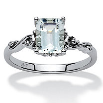 SETA JEWELRY 1.40 TCW Emerald-Cut Aquamarine Ring in 10k White Gold