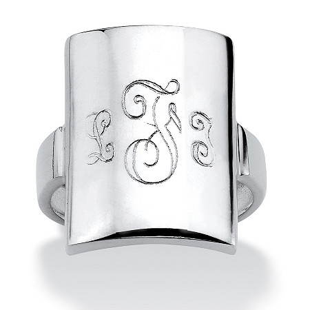 Sterling Silver Curved Personalized Initial Ring at PalmBeach Jewelry