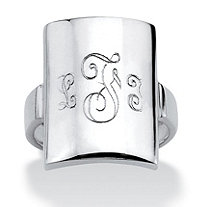 Sterling Silver Personalized Monogram Dome Initial Ring