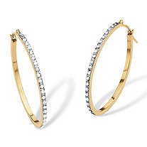 "Diamond Accent 14k Yellow Gold Diamond Fascination Hoop Earrings (1 1/4"")"