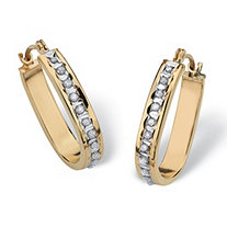 "Diamond Accent 14k Yellow Gold Diamond Fascination Hoop Earrings (1/2"")"