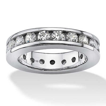 2.10 TCW Round Cubic Zirconia Platinum over Sterling Silver Eternity Ring at PalmBeach Jewelry