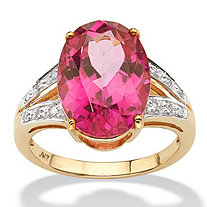 8.80 TCW Oval-Cut Sunset Rose Genuine Topaz Diamond Accent 10k Yellow Gold Ring