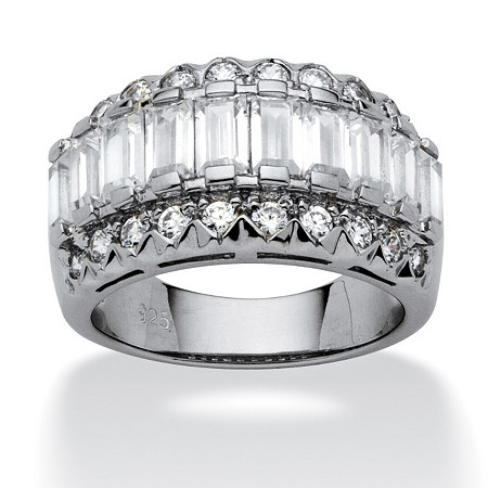 3.78 TCW Baguette Cut Cubic Zirconia Platinum over Sterling Silver Ring at PalmBeach Jewelry