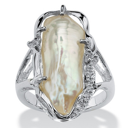 Cultured Freshwater Biwa Pearl with White Topaz Accents .925 Sterling Silver Ring at PalmBeach Jewelry
