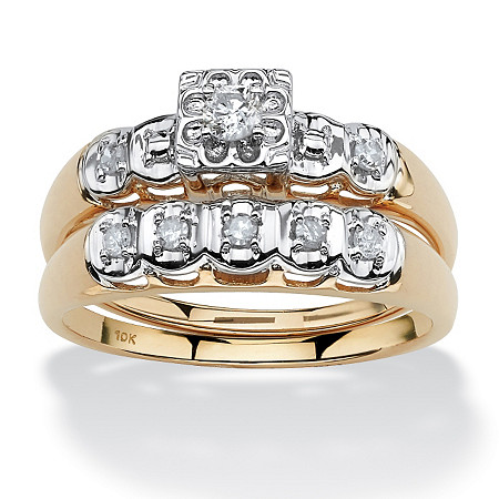 1/4 TCW Round Diamond Two-Piece Bridal Set in 10k Gold at PalmBeach Jewelry