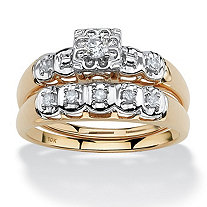 SETA JEWELRY 1/4 TCW Round Diamond Two-Piece Bridal Set in 10k Gold