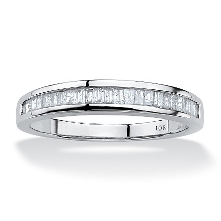 Baguette-Cut Diamond Channel Ring 3/8 TCW in Solid 10k White Gold at PalmBeach Jewelry