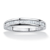 SETA JEWELRY Baguette-Cut Diamond Channel Ring 3/8 TCW in Solid 10k White Gold