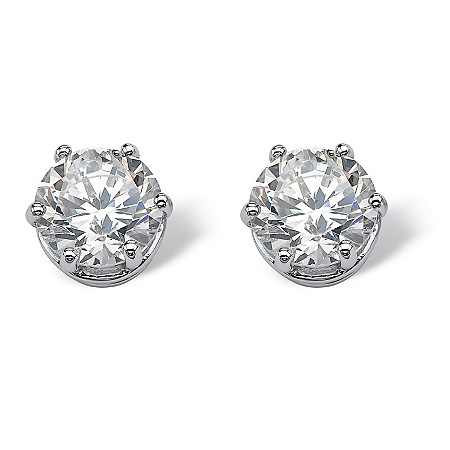 4 TCW Round Cubic Zirconia Stud Earrings in Platinum over Sterling Silver at PalmBeach Jewelry