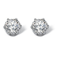 Round CZ Stud Earrings In Platinum Over Sterling Silver ONLY $22.99
