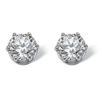 SETA JEWELRY 4 TCW Round Cubic Zirconia Stud Earrings in Platinum over Sterling Silver