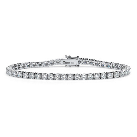 "6.90 TCW Round Cubic Zirconia Platinum over Sterling Silver Tennis Bracelet 7 1/2"" at PalmBeach Jewelry"