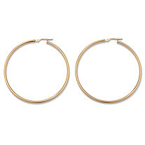 10k Yellow Gold Tubular Hoop Earrings (50mm)