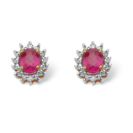 .76 TCW Oval-Cut Genuine Ruby with Diamond Accents 10k Yellow Gold Stud Earrings at PalmBeach Jewelry